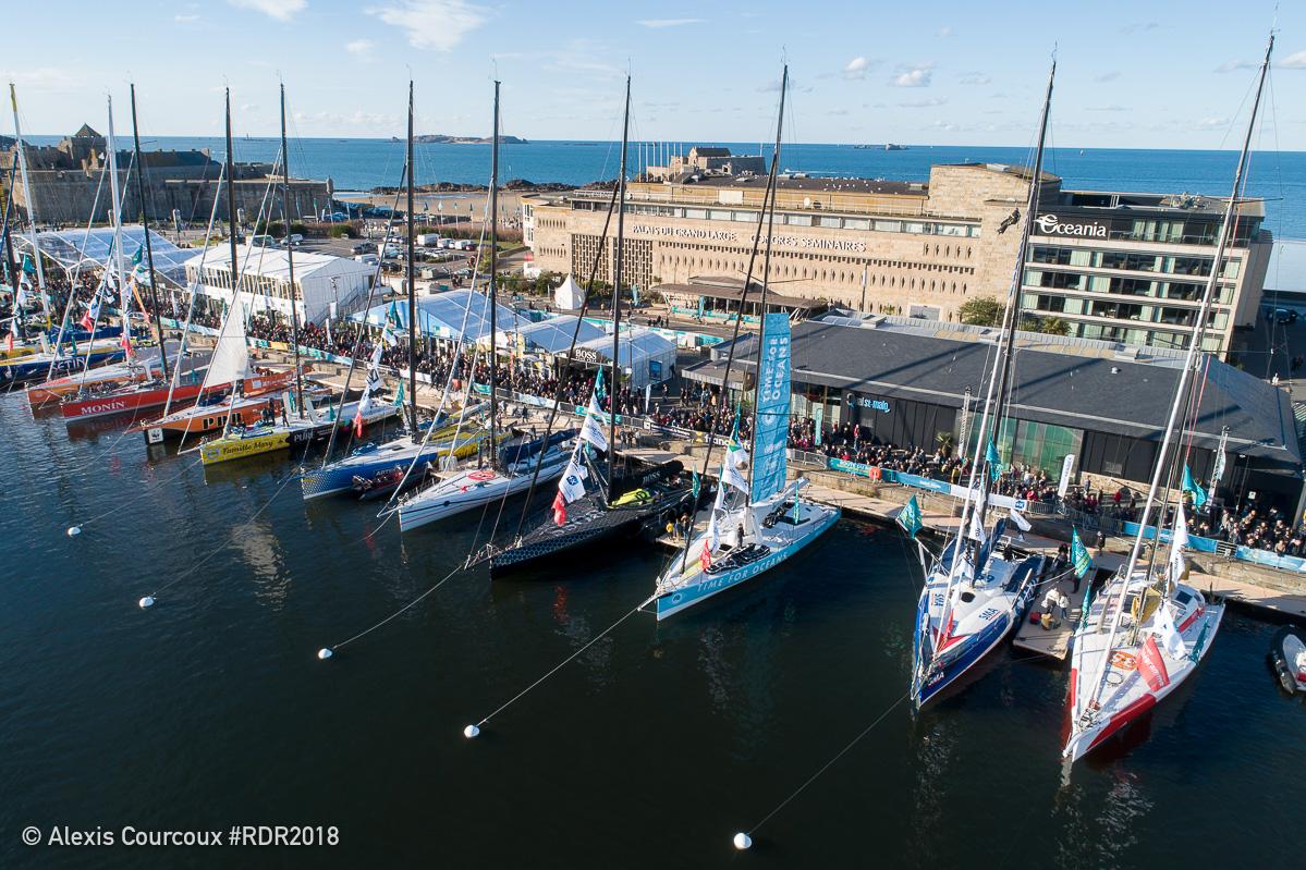 Bouygues Construction, SUEZ et la Ville de Boulogne-Billancourt à bord de Time For Oceans avec Stéphane Le Diraison avant le départ de la Route Du Rhum 2018.