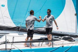Stéphane Le Diraison et François Guiffant arrivent à Salvador De Bahia avec Time For Oceans et signent la fin de la Transat Jacques Vabre 2019.
